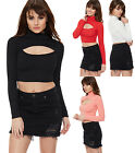 Womens Open Keyhole Crop Top Turtle Polo Neck Long Sleeve Short Stretch Ladies