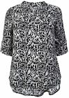 Women's Black And White Print Ladies Blouse Casual Wear Long Top PLUS SIZES14-32