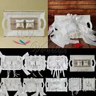 Chic White Wedding Ring Tray Ring Pillows With Lace Ribbons Flowers Plates Decor