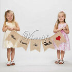 """Here Comes the Bride"" Sign Wedding Burlap Banners Flower Girl Decor Photo Props"