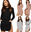 Womens Hooded Pouch Dress Top Ladies Sweatshirt Long Sleeve Stretch New 8-14