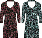 Plus Womens Choker Neck Dress Top Ladies Floral Print 3/4 Sleeve Stretch New