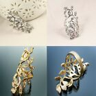 Branch Shape & Rhinestone Leaf's Beautiful Dainty Ring or Above the Knuckle