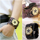 Men's Fashion Leather Bracelet Watch Wide Leather Bracelet Electronic Wristwatch