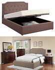 Tan Brown Fabric Button Tufted Soft Upholstered Lift Top Storage Full Queen Bed