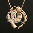 A1-P483 Geometric Patterns Rhinestone Ring Pendant Necklace 18KGP Crystal