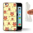 Gel/TPU Case Cover for Apple iPhone 5C / Cute Owl Pattern / Red/Yellow