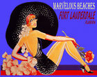 POSTER MARVELOUS BEACHES FORT LAUDERDALE GIRL HAT FASHION VINTAGE REPRO FREE S/H