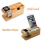 Solid Wood Bamboo Wood Holder Charger Dock Station for Apple iWatch iPhone iPad