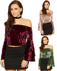 Womens Crushed Velour Gypsy Bardot Top Ladies Off Shoulder Bell Sleeve Boho 8-14