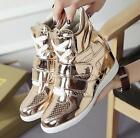 Womens Patent Leather Wedge Fashion Sneaker High Top Sports New Lace Up Shoes