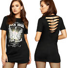 Womens Ripped Back Studded T-Shirt Top Graphic Slogan Print Short Sleeve New