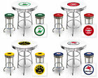 FC574 VINTAGE GAS GARAGE AUTO SHOP THEMED ROUND BAR TABLE & CHROME STOOLS SET