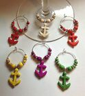 turquoise howlite anchor wine glass charms set of 6 beach house boat ship gift