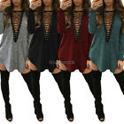New Womens Long T-Shirt Mini Dress V Neck Lace Up Choker Neck T Shirt Dress Top