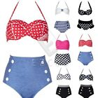 Girl Retro High Waist Bikini Set Swimsuit Beachwear Bathing Suit CABK20