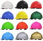 3D SPANDEX HELMET COVER FOR HORSE TRACK RIDER-PLAIN COLOUR-WITH OR W/O POM POM
