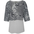 Anna Maria Ladies Print n Plain Top - Sizes - 12 to 22
