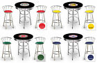 FC723 3 PIECE VINTAGE GAS AUTO SHOP THEMED ROUND BAR TABLE & CHROME STOOLS SET