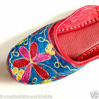 Embroidered Leather Khussa Open Back Turquoise Mules Shoes Size 7, 8