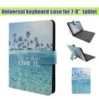 "7-8"" Universal Stand Leather Case Cover with Micro USB Keyboard For Tablet PC"
