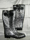 Ladies Silver and Black leopard print Wellington X1076