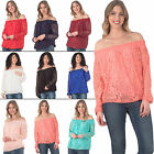 New Womens Ruched Neck Lace Layer Top Classic T-shirt One Size Casual Top