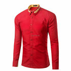 Mens Fashion Embroidered Slim Fit Long Sleeve Casual Shirts Dress Shirts Tops