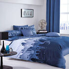 Navy Blue Duvet Cover Bed Set Poly Cotton Bedding Reversible Linen Quilt Cover