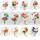 Oriental Handmade Chinese Silk Floral Paddle Dancing Hand Fans Single Face New