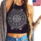 New Women Mandala Print Sleeveless Halterneck Tank Crop Tops Vest Blouse T-Shirt