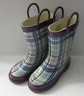 X1049- Girls Purple/Blue Check Design Pull On Wellington Boot- Great Price!