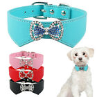 Didog Rhinestone PU Leather Puppy Dog Collars Cute Bow Decorate Black Pink Red
