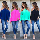 2017 Summer Women's Loose Chiffon Off Shoulder T-Shirt Casual Blouse Ladies Tops