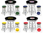 FC568 VINTAGE GAS GARAGE AUTO SHOP THEMED ROUND BAR TABLE & CHROME STOOLS SET