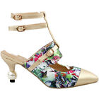 Green Gold Cutout Flower Pattern Strap Buckle Bridal Pointed Toe Pearl Heel Pump