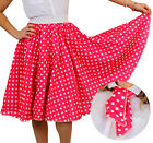 POLKA DOT SKIRT & SCARF HOT PINK WITH WHITE DOTS ROCK N ROLL FANCY DRESS COSTUME