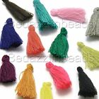 Lot of 6 Mini 1 1/4 inch Long Cotton Thread Tassel Charms for Sewing or Jewelry