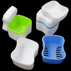 HOT Denture Bath Box Case Dental False Teeth Storage Container Rinsing Basket