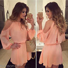 Fashion Summer Women Sexy Shoulder Off Casual Chiffon Blouse Tops Dress Jumpsuit