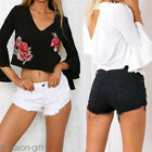 Summer Women Deep V-neck Flare Sleeve Embroidery Rose Blouse Ladies T-Shirt Tops