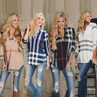Fashion Womens Ladies Casual T Shirt Plaid Long Sleeve Shirt Loose Blouse Tops