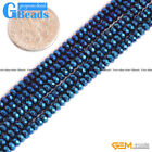 """Blue Metallic Coated Reflections Hematite Faceted Rondelle Spacer Beads 15"""" GB"""