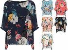 Plus Womens Floral Print Batwing Sleeve Top Ladies Chiffon Lined Baggy New 16-26