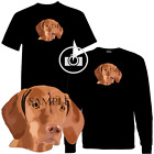 Vizsla Classic Head Dog Portrait Graphic Art Short / Long Sleeve Black T Shirt