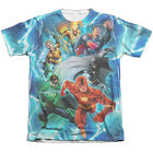 Justice League LIGHTNING TEAM 1-Sided Sublimated Big Print Poly Cotton T-Shirt