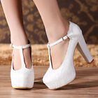 Women Princess White High Heels Party Queen Lace Wedding Shoes Bridal New Pumps