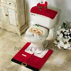 Santa Claus Toilet Seat Cover Rug Set Christmas Decoration Bathroom Xmas Gift