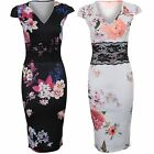 Ladies Cap Sleeve V Neck Flower Floral Lace Insert Stretch Bodycon Midi Dress