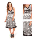Pistachio Womens Floral V Neck Dress Ladies New Monochrome Cotton Crossover Midi